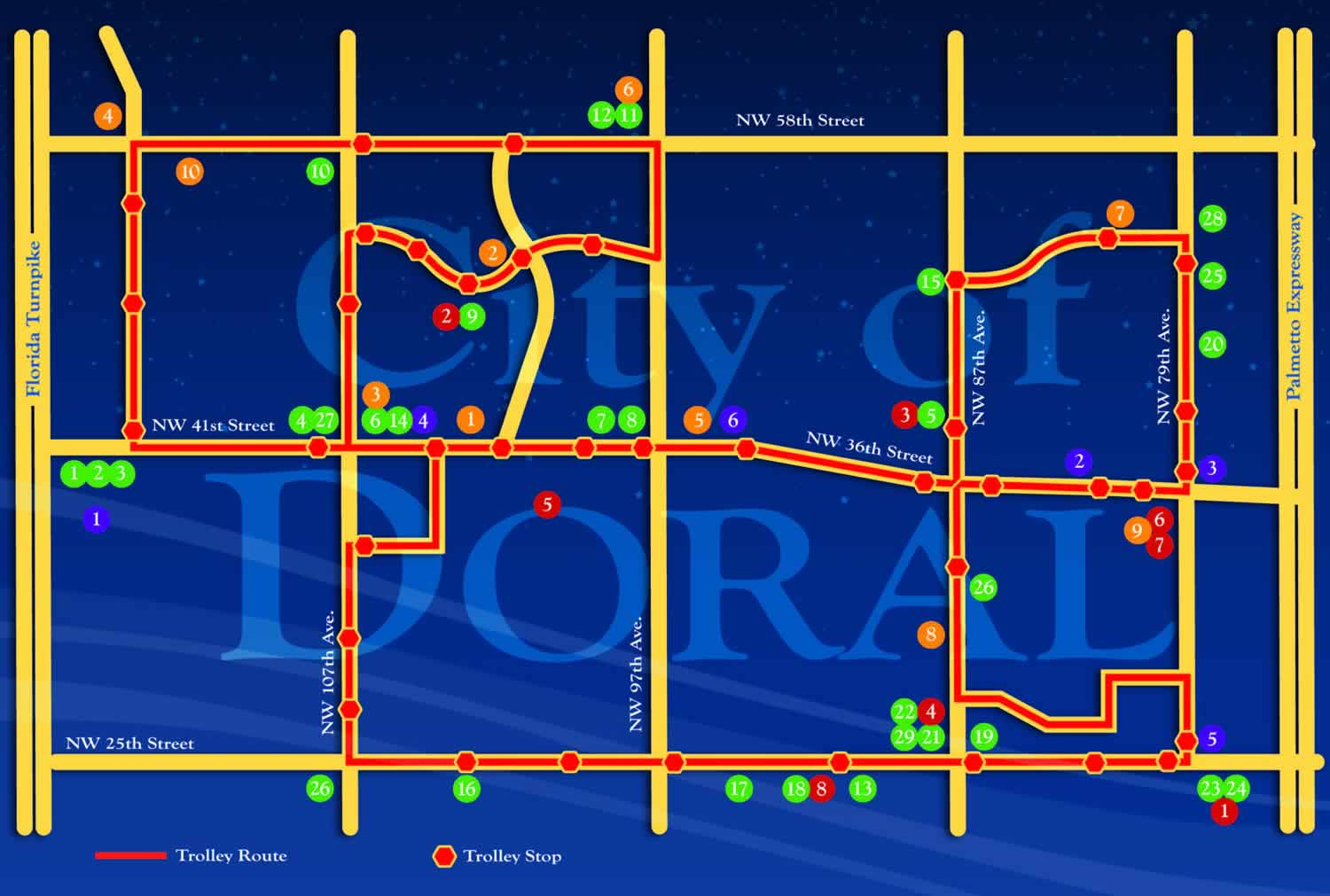 city of doral trolley map