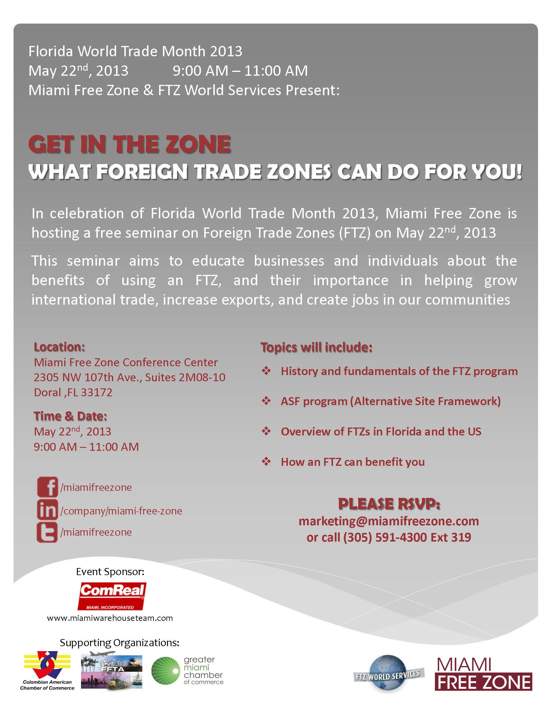miami free zone, miaim foreign trade zones, miami ftz