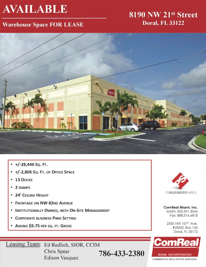 8190 NW 21 Street doral warehouse space