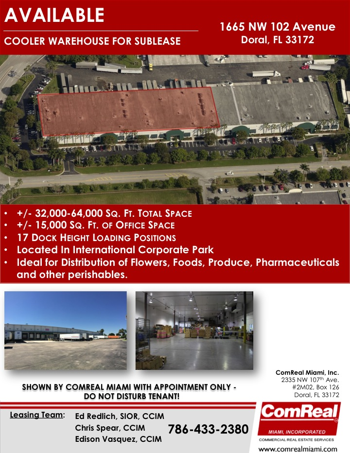 doral cooler warehouse space for sublease